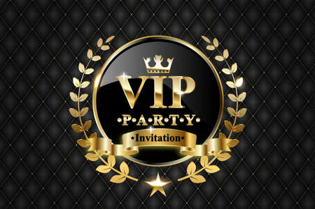 Vector golden ring with ribbon and VIP invitation text on black luxury background. Vettoriali