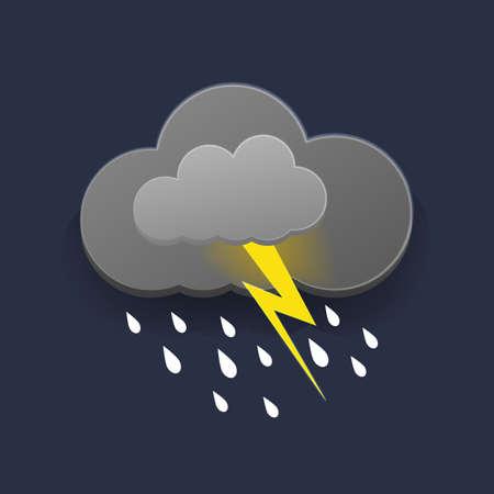 Overcast sky, thunder and lightning in paper cut style. Vector illustration. 向量圖像