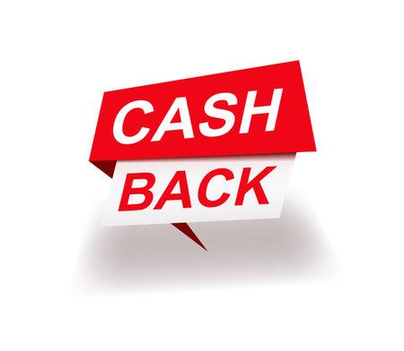 Trendy colorful cash back advertisement banner. Modern marketing sticker or sign.