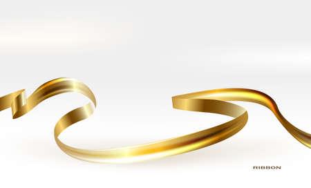illustration of Gold ribbon on white background.