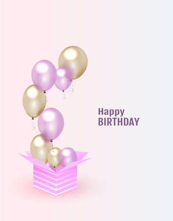 Illustration for happy birthday card with balloons. Stock fotó