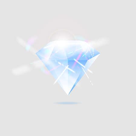 Diamond isolated on white realistic illustration