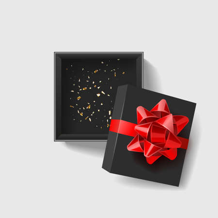 Opened black empty gift box with red ribbon and bow on dark background. Top view. Template for your presentation design, banner, brochure or poster. illustration. Stock fotó