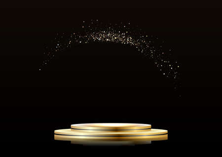Golden podium on a dark background, with sparkles. First place, fame and popularity. illustration