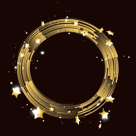 Round frame with golden stars.