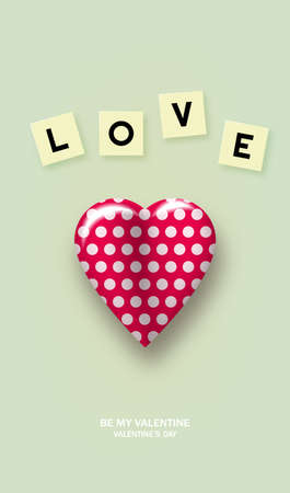 Red realistic heart with polka dots, with love cubes.