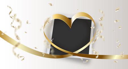 Heart shape made of satin ribbon on Valentine's day photo.