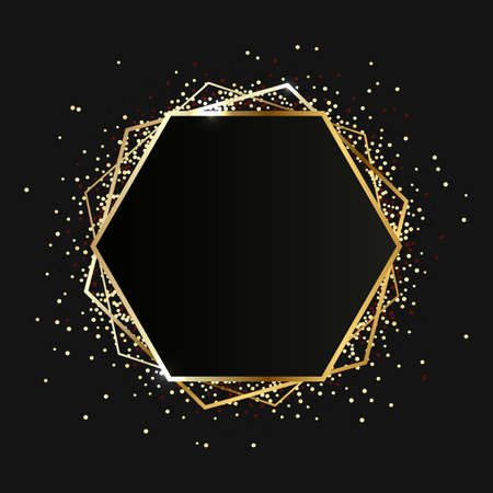 Gold hexagon frame. Modern shiny frame with light effects isolated on dark background. illustration. Stock fotó