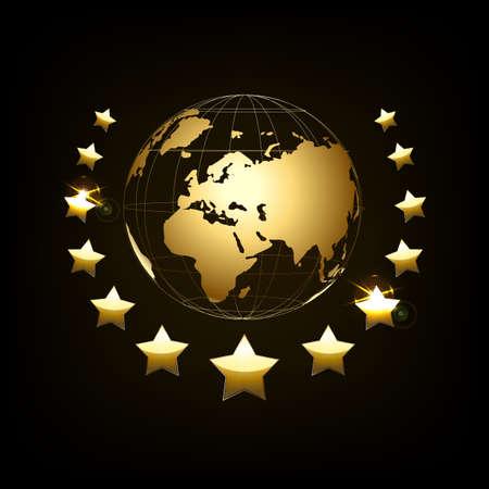 Golden globe with laurel wreath. Golden Globe on dark background. illustration. Glossy world map.