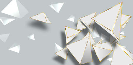 Abstract white geometric 3D background. Illustration