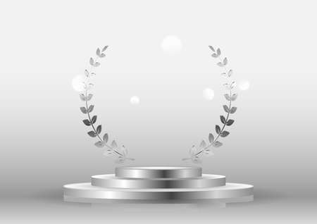 silver laurel wreath frame award and stage podium. Victory, honor achievement, quality product presentation, anniversary party, creative or professional triumph. Stock fotó