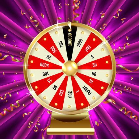 realistic illustration of casino fortune wheel. Shiny lucky number wheeling roulette. Gambling industry, entertainment, hobby concept. Design template of online poker room, website, mobile app