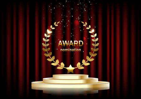 Background with red curtains, Golden podium, the text of the award. Stock fotó