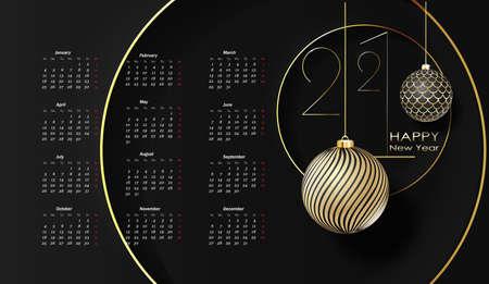Year 2021 calendar horizontal design template, simple and clean design.