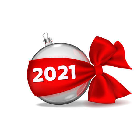 Christmas ball hanging on red ribbon bow realistic isolated with golden numbers 2021. Happy New Year. Xmas bauble. illustration