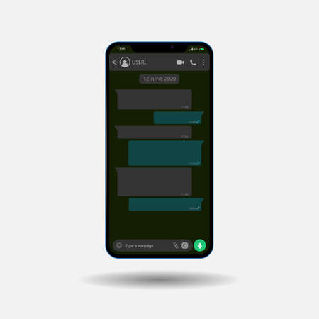 Layout of a phone with a mobile messenger on the screen, in a dark style. Modern design. illustration.