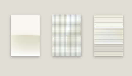 Set of realistic illustrations of a torn sheet of paper from a workbook with shadow, isolated on a gray background