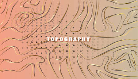 Topographic map gold abstract background with contour altitude lines. The stylized height of the topographic map contour in gold lines and contours.