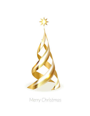 Abstract glossy spiral Christmas tree. Golden coil metallic ribbon. New year and xmas decoration concept. 3d minimal pastel colored background Stock fotó