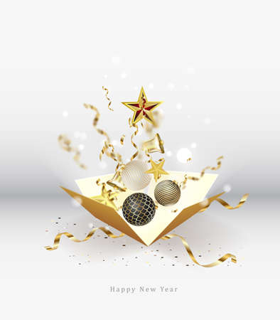 Merry Christmas and Happy New Year. Xmas design realistic abstract 3d objects. Gift box, bright bubble balls illustration