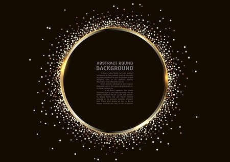 Golden sparkling ring with golden glitter isolated on black background. golden frame.