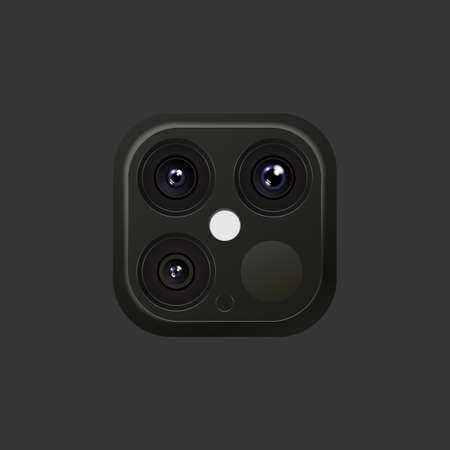 Illustration Realistic Lens Camera Black and Silver colors on Smartphone or other gadgets with flash Stock fotó
