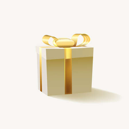 Gift box with gold ribbon isolated on white background. illustration. Stock fotó