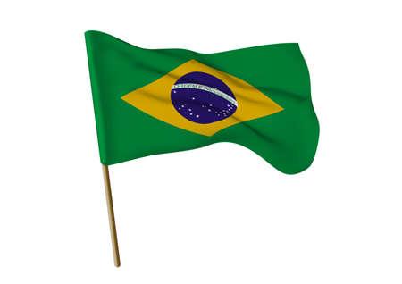 Flag of Brazil, illustration on a white background