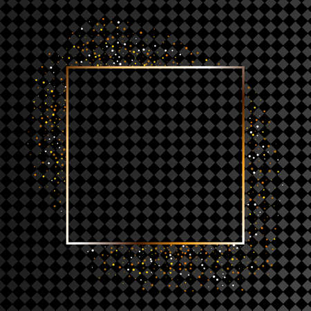 Golden frame with lights effects, Shining luxury banner illustration. Glow line golden frame with sparks and spotlight light effects. Stock fotó
