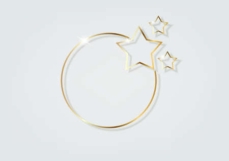 Abstract luxury gold ring with stars. of circles of light floodlight lighting effect.