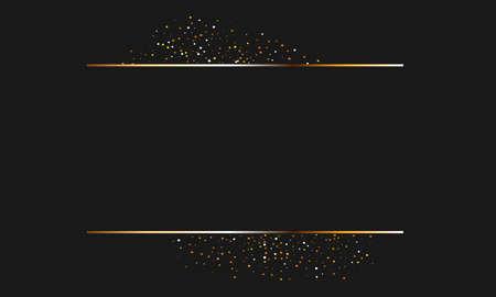 Golden glitter and shiny golden frame on black background. horizontal luxury background.