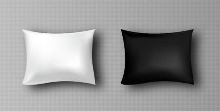 realistic blank white, black rectangular pillow isolated on background.