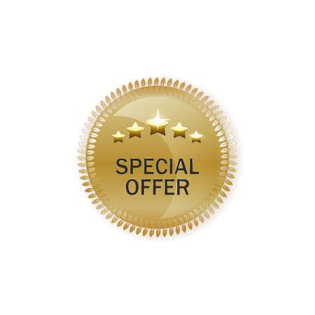 realistic illustration of golden medallion laurel wreath, stars, sign Special Order. Shopping, loyalty system, marketing tools