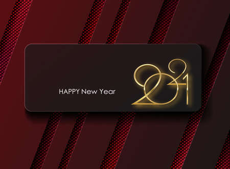 Happy New Year 2021. illustration of the holiday. Maroon background with gold numbers and typographic halftone pattern. Greeting card or party invitation template