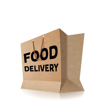 Food delivery isolated on white, paper shopping bag with food label icon, concept of online food supermarket symbol, fast delivery service creative logotype, brand