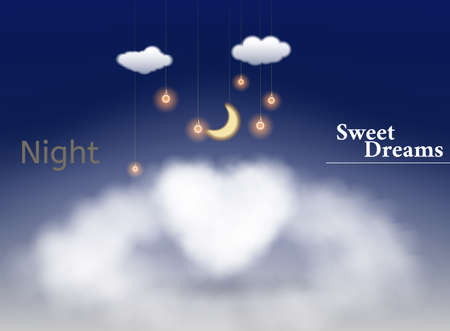 Heart shaped cloud in the blue sky. Sweet dreams. Valentines day illustration
