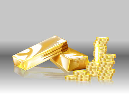 Gold coins and gold bars on a gray background.