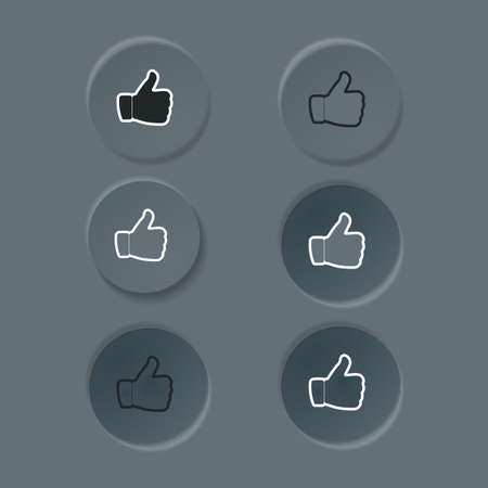 Editable neomorphic interface elements. Buttons like and dislike round shapes for websites and social media. UI components isolated on dark background