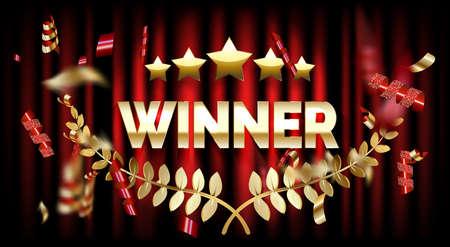 Winner frame label, falling ribbons winner. illustration Stock fotó