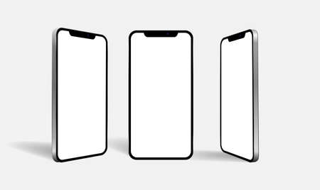 New realistic mobile phone smartphone collection perspective mockups with blank screen isolated on white background. Stock fotó