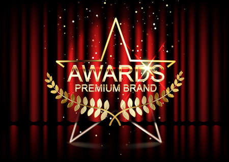 Gold award badge with star isolated on red curtain background. Vecteurs
