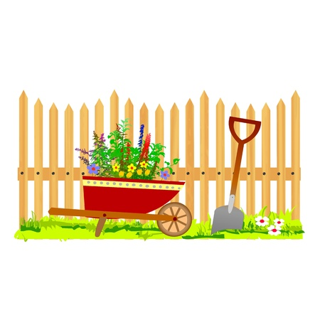 wooden fence and wheelbarrow garden illustration Vector