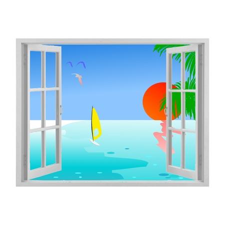 ventana abierta: Abra la ventana de la ilustración, mar y sol Vectores