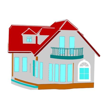 cottage. house on white illustration