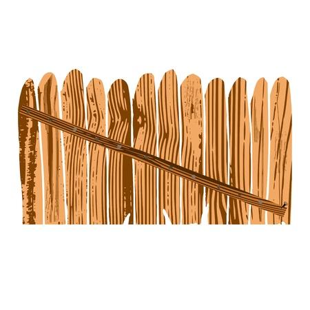 деревянным забором иллюстрации