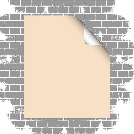 Blank paper on grunge brick wall illustration Stock Vector - 13264577