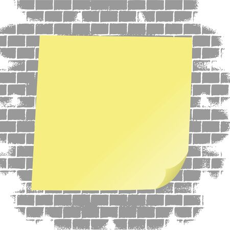 Blank sticky note on grunge brick wall illustration Stock Vector - 13264514