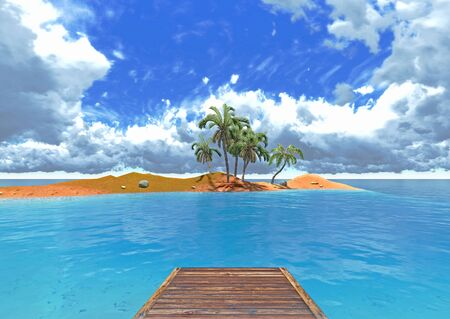 jetty and tropical island