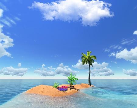 тропическом острове и пальмовые