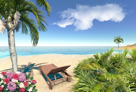 Beach, palms and chair Stock Photo